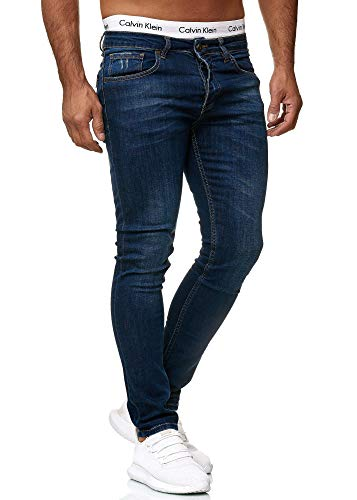 Code47 Designer Herren Jeans Hose Regular Skinny Fit Jeanshose Basic Stretch 607 Deep Blue Used 32/32