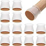 48 Pieces Furniture Silicon Protection Covers Furniture Leg Floor Protectors Caps Feet Cover with Felt Bottom Floor Protector for Home Class Office