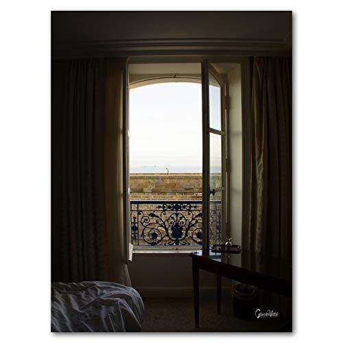 Feliz villa ventana al mar 2 – Exclusivo diseño de artista, tamaño XXL, 90 x 120 cm, impresión digital sobre vidrio acrílico de 5 mm, ventana de hotel, color blanco y negro
