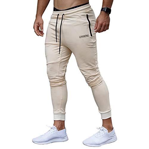 Anmurジョガーパンツ メンズ トレーニング パンツ ジム スポーツウェア スウェットパンツ フィットネス スリム ロングパンツ カーキ2XL