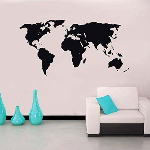 Hllhpc Sjabloon met wereldkaart, silhouet, wandstickers voor woonkamer, kunst, vinyl en slaapkamer, achtergrond, elastiek voor thuis, 109 x 57 cm