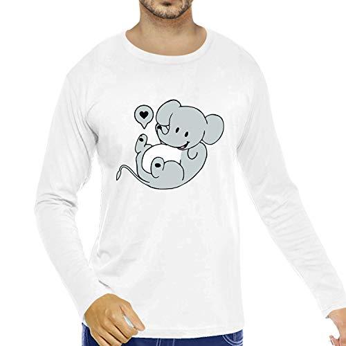Pooplu Graphic Printed Men Tshirt Cute Elephant Cotton Printed Round Neck Full Sleeves White T Shirt. Animal, Cute Animal Tshirts, Offer, Sale