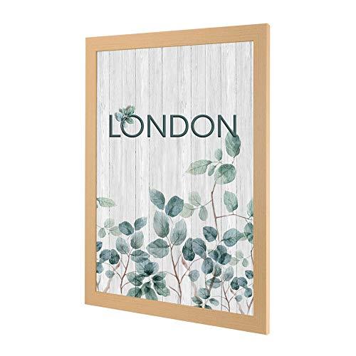 Bilderrahmen London in Holzoptik Buche Dekor mit Acrylglas ANTIREFLEX/ENTSPIEGELT 60 X 80 cm