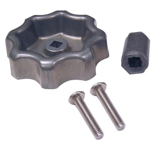 Danco Outdoor Faucet Water Spigot Handle   Hose Bibb Round Wheel Handle Replacement   Includes Screws   Metal (10006), Silver/Pewter