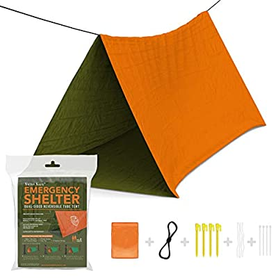 Swiss Safe Emergency Survival Shelter Tent (Reversible Two-Sided Tent) + Paracord, Tent Spikes, Zip-Ties: 100% Waterproof, Ultralight and Extra Large ...