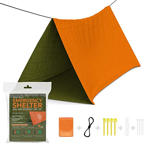 Emergency Survival Shelter Tent (Reversible Two-Sided Tent) + Paracord, Tent Spikes, Zip-Ties: 100% Waterproof, Ultralight and Extra Large