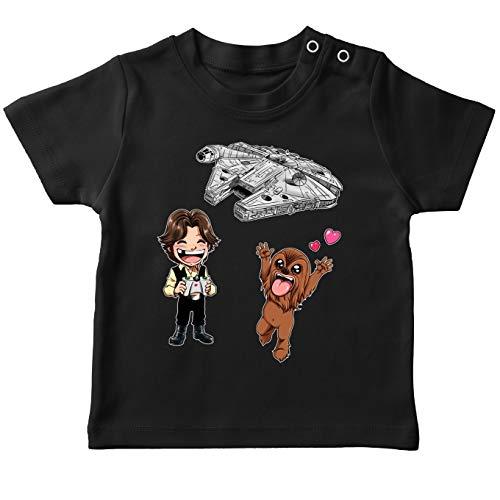 T-Shirt bébé Noir Star Wars parodique Han Solo et Chewbacca : Drone Mania : Le Cadeau d'anniversaire de Han et Chewie (Parodie Star Wars)