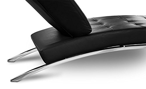 NEUERRAUM Bauhaus Daybed Chaiselongue Lounge-Sessel Relax Liege Couch Sofa Echtleder, Fuß Edelstahl poliert. Abbildung in Leder Schwarz.