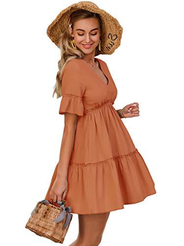 MsLure Damen Kleider Sommer Tunika Tshirt Kleid V-Ausschnitt Rüschenärmel Babydoll Kleid Lose Minikleid Freizeitkleid Orange EU 36/S