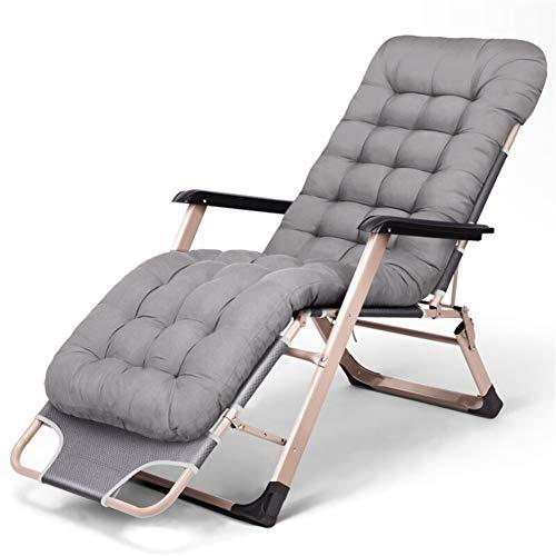 Silla reclinable con tumbonas de jardín plegable de 178 x 67 x 30 cm (gris + alfombra gruesa)