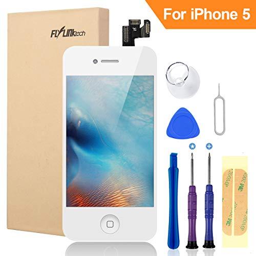 FLYLINKTECH Für iPhone 5 Display Weiß, LCD 3D Touchscreen Digitizer Assembly mit Werkzeuge und Displayschutzfolie Für iPhone 5 Weiß 4.0