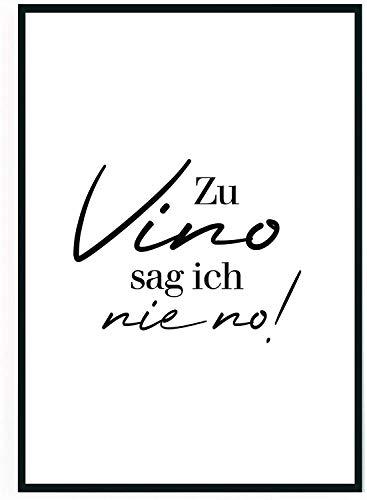 moebeldeal 2 Stück - Poster Bild DIN A4 - Zu Vino sag ich nie no - Plakat Spruch lustiges Wein Geschenk Wine Sprüche Typografie schwarz weiß Küche Wohnzimmer Deko - ohne Rahmen - Geschenk