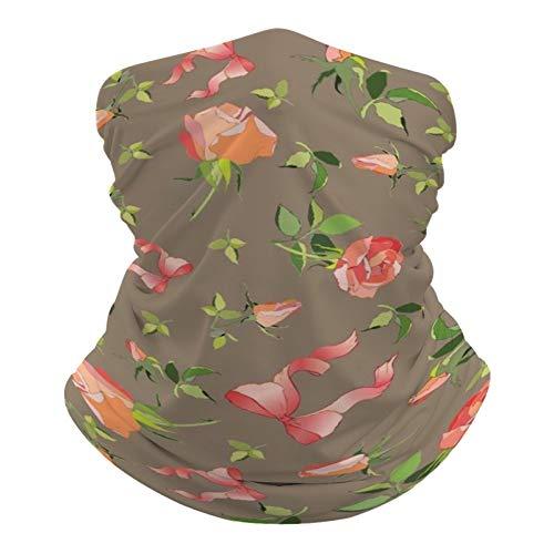 DKE&YMQ Pañuelo unisex multifuncional, con patrón elástico, transpirable, con resistencia a los rayos UV, diseño de pétalos de color rosa, ilustración de melocotón