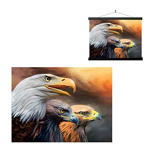 3D LiveLife Lenticular Cuadros Decoración - Tres águilas de Deluxebase. Poster 3D sin marco de pájaros. Obra de arte original con licencia del reconocido artista, Carol Cavalaris