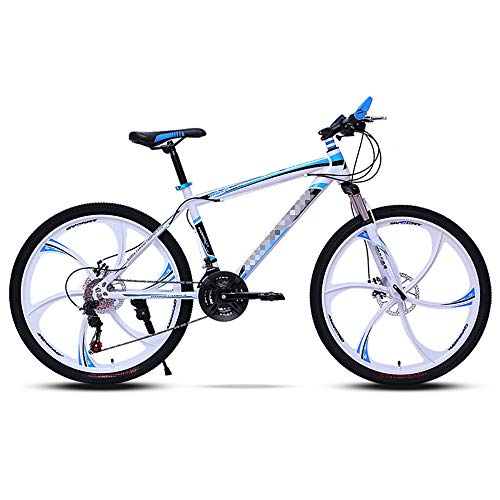 Mountain Bikes 21-Speed Men's and Women's Adult Bicycles, Double Disc Brakes, Variable Speed One-Wheel Bicycles, with Adjustable Wide Seats, 24 Inch and 26 Inch (Color : Blue, Size : 24 inch)