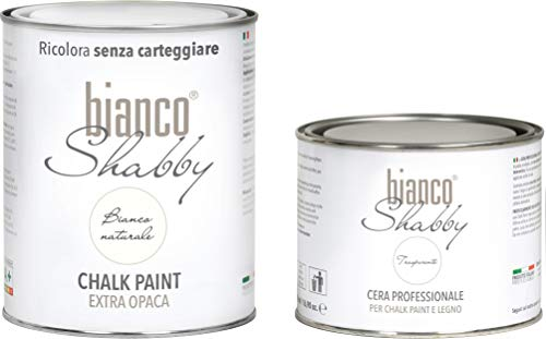 CHALK PAINT Bianco Naturale & CERA NEUTRA - Pittura Shabby Chic (1 Litro) + Cera Professionale (500 ml)