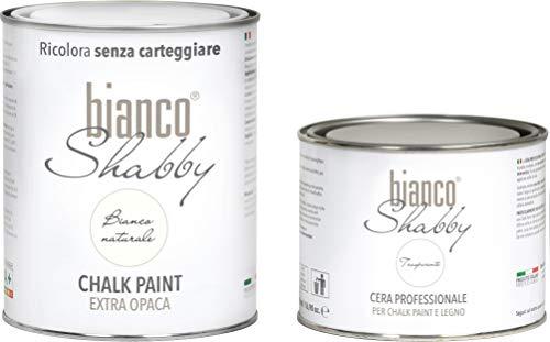 CHALK PAINT Bianco Naturale & CERA NEUTRA - Pittura Shabby Chic (1 Litro) + Cera...