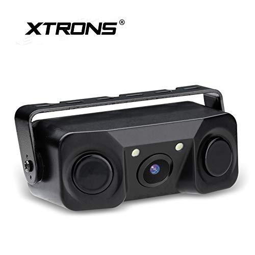 XTRONS 3-in-1 Auto Kamera mit Sensoren Weitwinkel Rückfahrkamera mit eingebautem Parksensor wasserdicht Einparkshilfe Radar
