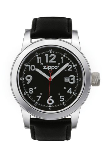 Price comparison product image Zippo Casual Watch with Black Dial and Leather Strap