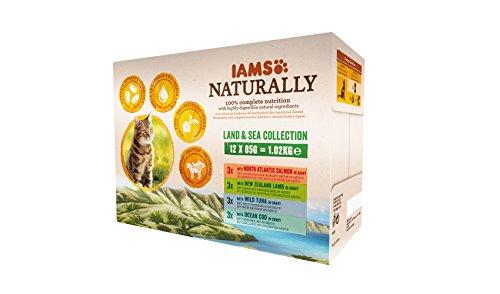 IAMS Naturally Land & Sea Collection in Sauce – Vollwertiges Nassfutter für erwachsene Katzen von 1-6 Jahre in verschiedenen Geschmackssorten – 12 x 85g Frischebeutel