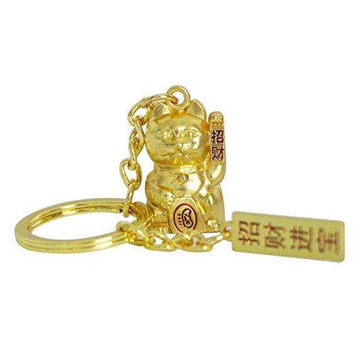 UOOOM - Llavero con colgante 3D de gato de la suerte., dorado