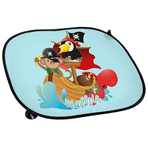 Auto-Sonnenschutz mit Namen Mathis und Tier-Piraten-Motiv für Mädchen | Auto-Blendschutz | Sonnenblende | Sichtschutz