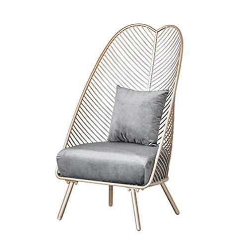 length Nordic pequeño sofá ins luz de Lujo Sola Silla Ropa Tienda de uñas Dormitorio Hierro sofá Perezoso (Color : Gray)