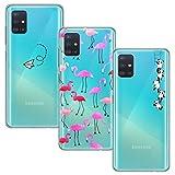 Yoowei [3-Pack] Cover per Samsung Galaxy A51 Trasparente con Disegni, Morbida Silicone Ultra Sottile TPU Gel Custodia per Samsung Galaxy A51, Aeroplano + Fenicotteri + Panda