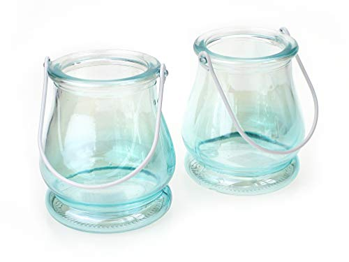 2x Windlicht mit Henkel im Set Ø 8,5 x 9,5 cm, Glas blau türkies schimmernd, Teelichthalter Kerzenhalter Hängewindlicht Dekoglas Vase
