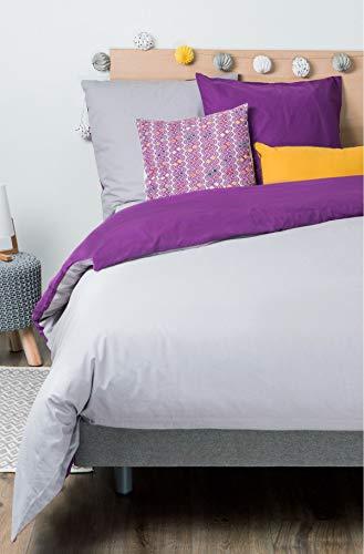 Kadolis Housse de Couette Coton Bio Bicolore + 2 taies d'oreiller Violet 240 x 260 cm