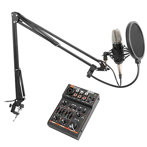 Vonyx Podcast Studiomicrofoon set met Bluetooth USB Mixer