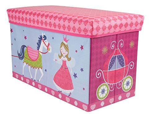 Bieco Aufbewahrungsbox mit Deckel Kinder Prinzessin, faltbar, Sitzhocker mit Sitzgelegenheit, und Polsterung, Spielzeugkiste mit Stauraum, Sitztruhe, Jungen & Mädchen, 66 L, Belastbar bis 80 Kg, rosa