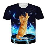 Gato Camiseta Hombres Mujeres Galaxy Space Animal ImpresióN 3D Camisetas Divertidas Manga Corta O Cuello Streetwear Bb10793 L