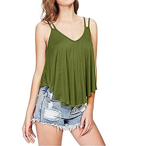 Camisola Mujer Sexy con Cuello V Color Sólido Camisa Mujer Verano Suelto Cómodo Suave Mujer Shirt Playa Viajes Disco Fiesta Mujer Tops C-Green XXL