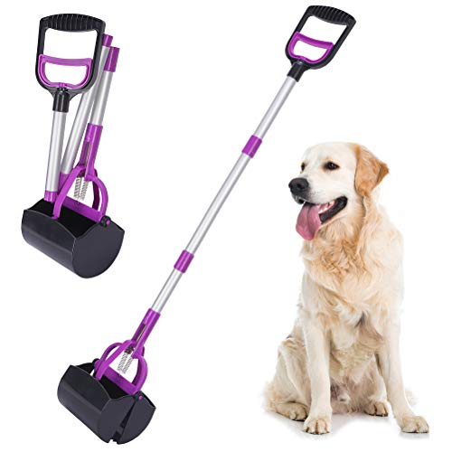 BINGPET 37.5' Long Handle Dog Pooper Scooper - Portable Poop Scoop Ergonomic Extendable Dog Poop Waste Pick Up Rake for Small Medium Large Dogs, Easy to Use for Grass, Dirt, Gravel