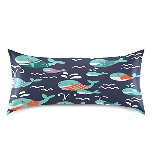 HaJie - Funda de almohada de satén para cabello y piel, diseño de ballena oceánica, 100% poliéster, tamaño estándar, 50,8 x 101,6 cm, 1 unidad