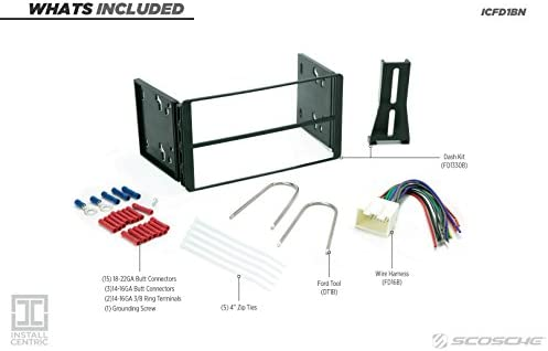 Mercury or Mazda Vehicles SCOSCHE FD1330B Double DIN Car Stereo Dash Installation Kit Compatible with Select 1995 to 2010 Ford