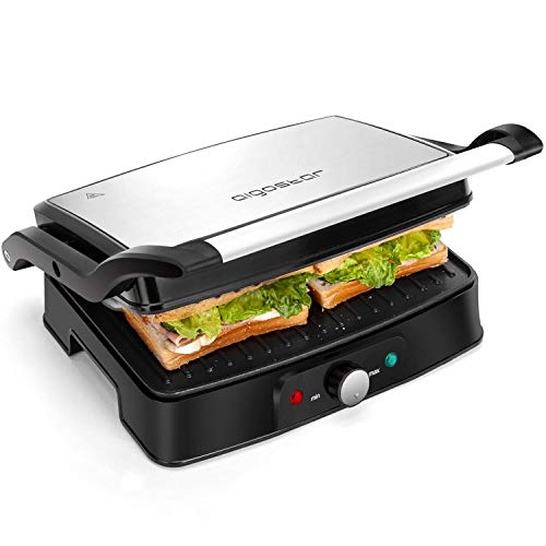 Aigostar Panini Sandwich Press, 1500W 2 Slice Deep Fill Sandwich Toaster Maker, Non-Stick Plates, 180° Flat Open, Electric Health Grill, Stainless Steel, Easy to Clean-Hitte 30KHG