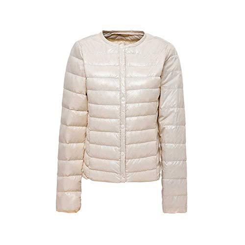YunXiang Matt Fabric Light Jacket Damen Ultra Light Daunenjacke Damen Slim Windbreaker ohne Kragen Leichter Warmer Mantel