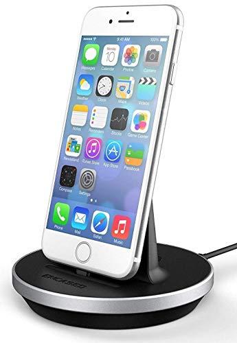 Encased Desktop Lightning Compatible Charging Stand, MFI Certified iPhone Charger (Adjustable) Case Friendly Design - Aluminum/Black (Compatible to Apple iPhone 6/6S/7/Plus/8)