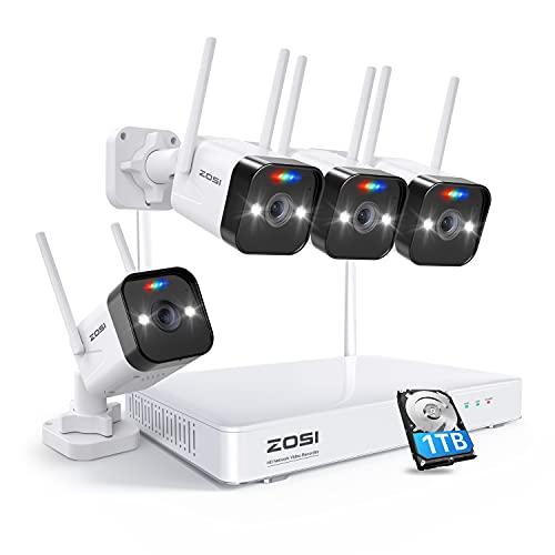ZOSI W4 Pro 8CH 3MP Kit Caméra de Surveillance WiFi sans Fil + Disque Dur 1 to, Alarme de Son et de Lumière, Audio Bidirectionnel, Détection de Mouvement PIR et Vision Nocturne 50 ft, App Gratuite