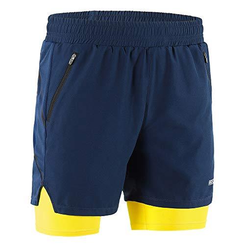Lixada Hombres Pantalónes Cortos de Running 2-en-1, Pantalones Cortos de Atletismo/Pantalones Cortos de Fitness Maratón, Transpirable Pantalones+Secado Rápido