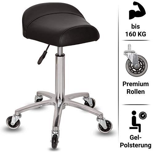Staboos Profi Arbeitshocker - Drehhocker höhenverstellbar von 59-81cm - Rollhocker Premium Rollen - Roll Hocker aus Alu mit Gel Sattelsitz (Silber)