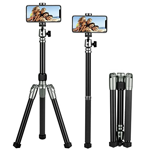 MOMAX Compact Alluminum Tripod, 56 Inch 1.87lbs Portable Lightweight Alluminum Alloy Phone and Camera Tripod Monopod Stand with Ball Head Phone Grip and Carry Bag for iPhone DV DSLR Cameras (Gray)