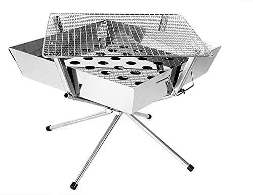 TGFVGHB Parrilla de barbacoa portátil, acero inoxidable carbón al aire libre Camping Picnic barbacoa herramientas 36x36x32 cm