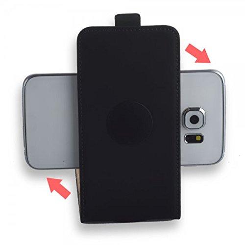 360 ° - Universal Flip Style Handy Tasche mit Klebepad Cover Hülle Etui in Schwarz - L - für kompatible Haier Mobiltelefone