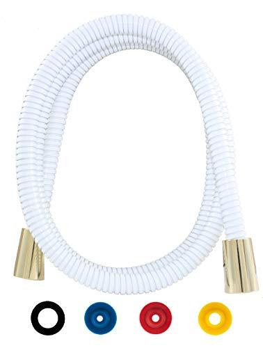 SANTRAS® Metall Duschschlauch DELUXE Weiß (RAL 9003) / Gold 1,50 m mit Durchflussbegrenzer – Besonders flexibler Brauseschlauch aus Edelstahl MADE IN GERMANY