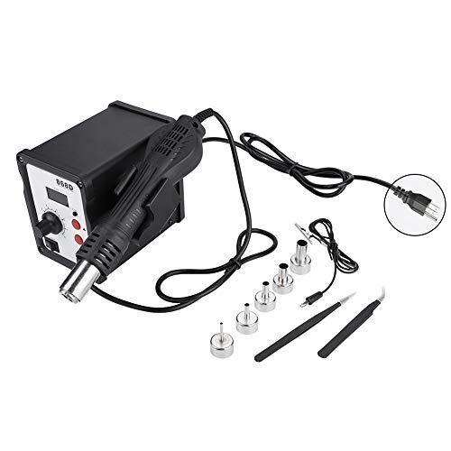 Akozonホットエアガン868D 700Wデジタルディスプレイ帯電防止ホットエアガンヒートガンリワークステーション、5ノズル(110V)