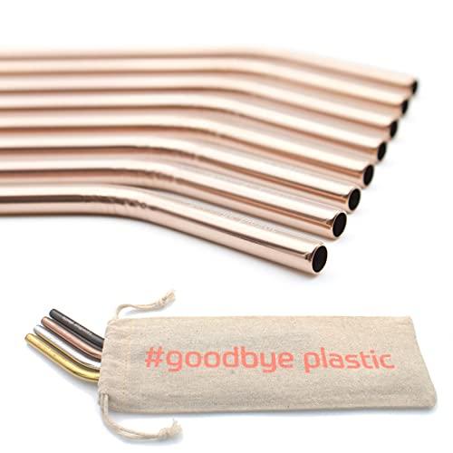 GERNEO® - Pajita de Acero Inoxidable Reutilizable - Juego de 8 + Cepillo de Limpieza + Bolsa de toldo - Apta para niños, respetuosa con el Medio Ambiente - Oro Rosa