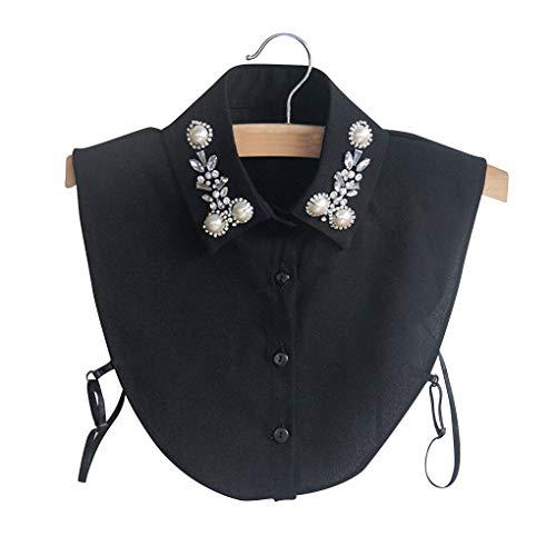 shunbang yuan La Mitad de la Solapa Desmontable Camisa de la Gasa de la Perla de decoración de Cristal Elegante Collar Falso Elegante Blusa de Cuello Falso de la Mujer, Negro